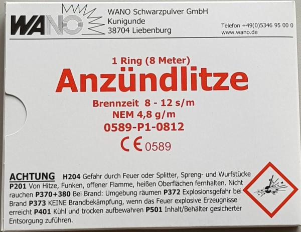 Wano Anzündlitze Brennzeit 8 – 12 s/m, rot